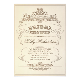 "vintage typography old bridal shower invitations 5"" x 7"" invitation card"