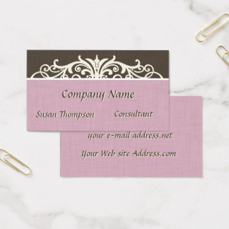Vintage Typography Pink Linen Business Card