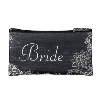 Vintage Typography rustic  chalkboard bride Makeup Bag