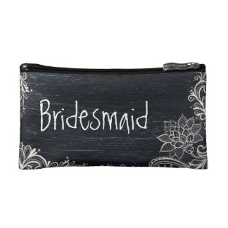 Vintage Typography rustic  chalkboard bridesmaid Makeup Bag