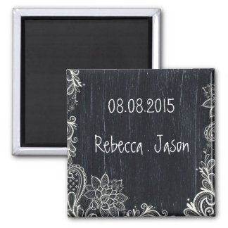 Vintage Typography rustic chalkboard save the date 2 Inch Square Magnet