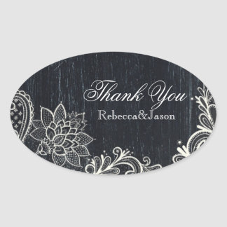 Vintage Typography rustic chalkboard thank you Oval Sticker
