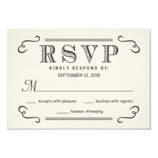 "Vintage Typography Rustic RSVP Wedding Reply 3.5"" X 5"" Invitation Card"