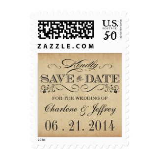 Vintage Typography Save the Date Postage