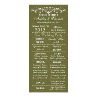 Vintage Typography Style Green Wedding Programs Rack Cards