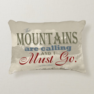 Vintage Typography The mountains are calling; Muir Accent Pillow