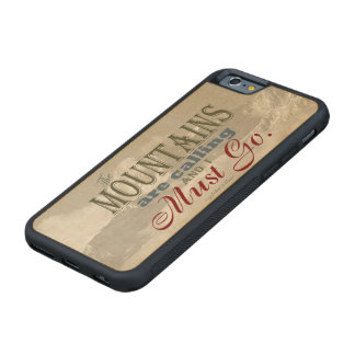 Vintage Typography The mountains are calling; Muir Carved® Maple iPhone 6 Bumper Case