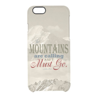 Vintage Typography The mountains are calling; Muir Clear iPhone 6/6S Case