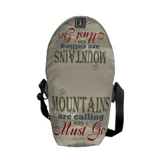 Vintage Typography The mountains are calling; Muir Courier Bag