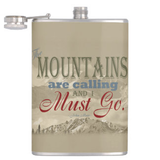 Vintage Typography The mountains are calling Muir Flasks