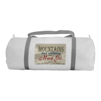 Vintage Typography The mountains are calling; Muir Gym Bag