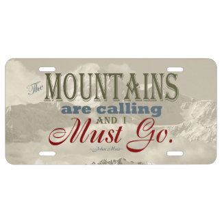 Vintage Typography The mountains are calling; Muir License Plate