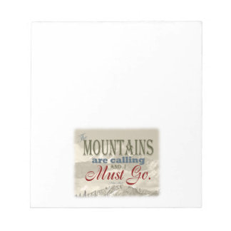 Vintage Typography The mountains are calling; Muir Notepad