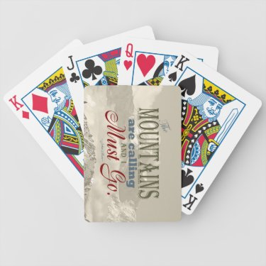 Vintage Typography The mountains are calling; Muir Bicycle Poker Deck