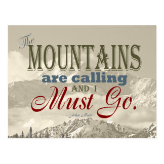 Vintage Typography The mountains are calling; Muir Postcard