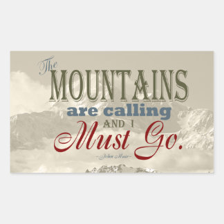 Vintage Typography The mountains are calling; Muir Rectangular Sticker