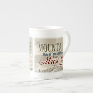Vintage Typography The mountains are calling; Muir Bone China Mug