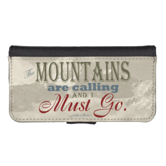 Vintage Typography The mountains are calling; Muir Wallet Phone Case For iPhone SE/5/5s