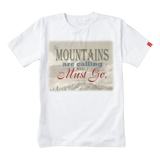 Vintage Typography The mountains are calling; Muir Zazzle HEART T-Shirt