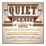 """vintage typography unique anniversary invitations 5.25"""" square invitation card"""