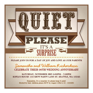"vintage typography unique anniversary invitations 5.25"" square invitation card"