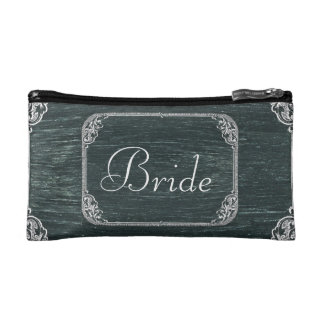 Vintage Typography wedding chalkboard bride Cosmetics Bags