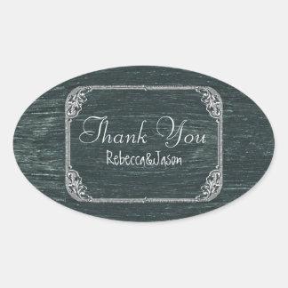 Vintage Typography wedding chalkboard thank you Oval Sticker