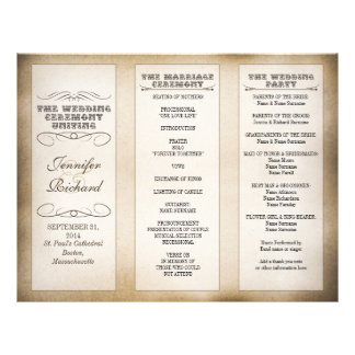 vintage typography wedding programs
