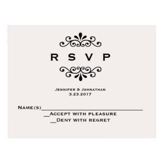Vintage typography wedding RSVP cards