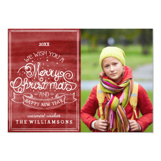 Vintage Typography Wish You Merry Christmas Photo Card