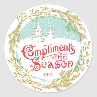 Vintage Typography Wreath Holiday Stickers