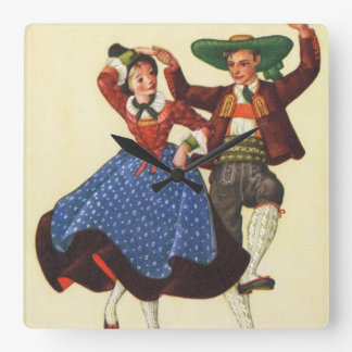 Vintage Tyrolean dancers, Austria Square Wall Clock