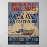 Vintage U.S. Coast Guard Enlist Boat owners Posters