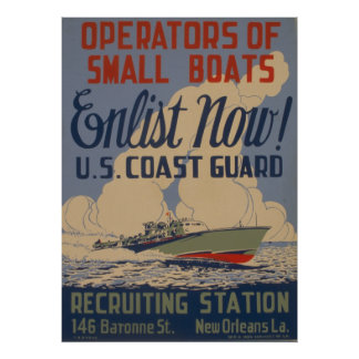 Vintage U.S. Coast Guard Enlist Boat owners Poster