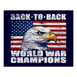 Vintage U.S. Flag & Eagle World War Champions Posters