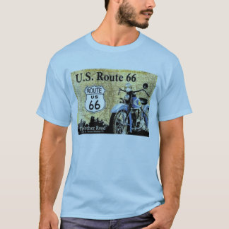 """""""Vintage-U.S. Route 66 with Motorcycle Ad"""" T-Shirt"""