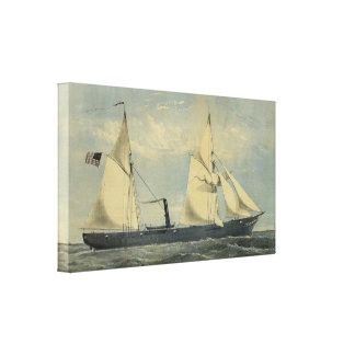 Vintage U S steam boat Kanawha Wrapped Canvas Gallery Wrap Canvas