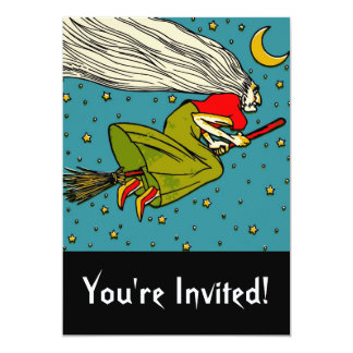 Vintage Ugly Flying Witch on Broomstick Cartoon Card