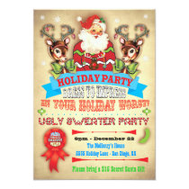 Vintage Ugly Sweater Christmas Party Poster Invite