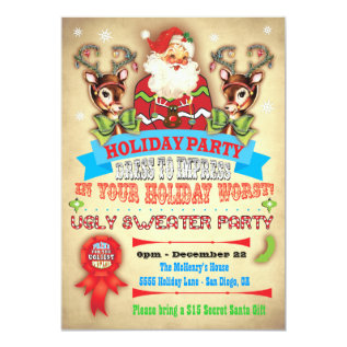 Vintage Ugly Sweater Christmas Party Poster Invite at Zazzle