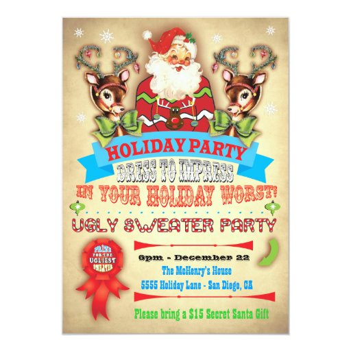 """Vintage Ugly Sweater Christmas Party Poster Invite 5"""" X 7"""" Invitation Card 