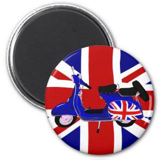Vintage UJ Blue Scooter Art 2 Inch Round Magnet