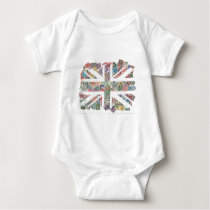 Vintage UK Flag Postage Stamp pattern Baby Bodysuit