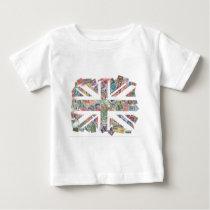 Vintage UK Flag Postage Stamp pattern Baby T-Shirt