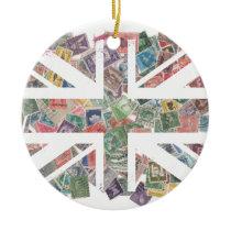 Vintage UK Flag Postage Stamp pattern Ceramic Ornament