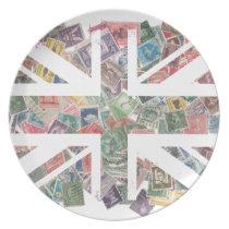 Vintage UK Flag Postage Stamp pattern Dinner Plate