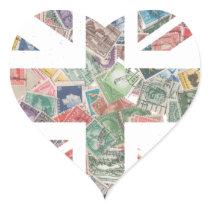 Vintage UK Flag Postage Stamp pattern Heart Sticker