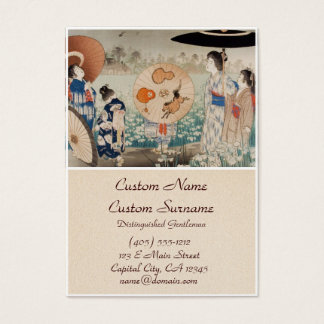 Vintage ukiyo-e japanese ladies with umbrella art business card