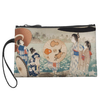Vintage ukiyo-e japanese ladies with umbrella art wristlet wallet