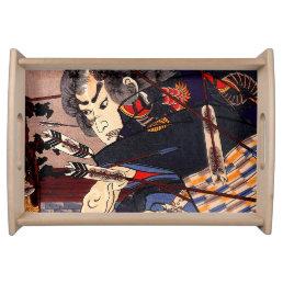 Vintage Ukiyo-e Japanese Samurai Painting Serving Tray